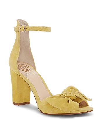 e27faa63b5a0 VINCE CAMUTO Women s Carrelen Suede Bow Block Heel Sandals ...