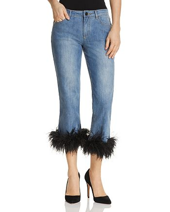Alice and Olivia - Tasha Feather-Hem Cropped Flared Jeans in 90s Wash