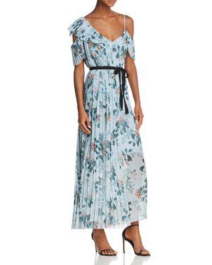 French Connection Kioa Asymmetric Pleated Floral Print Maxi Dress