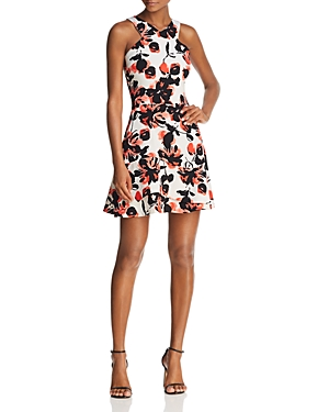 Aqua Floral Print Fit-and-Flare Dress - 100% Exclusive