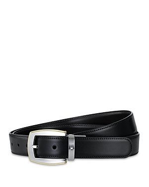 Simple, elegant and refined-this leather belt from Montblanc features a two-tone buckle and a classic brown/black reversible design.
