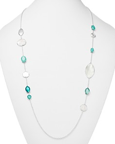 """IPPOLITA - Sterling Silver Wonderland Mixed Mother-of-Pearl & Clear Quartz Doublet Long Necklace in Bermuda, 36"""""""