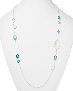 IPPOLITA - Sterling Silver Wonderland Mixed Mother-of-Pearl & Clear Quartz Doublet Long Necklace in Bermuda, 36""