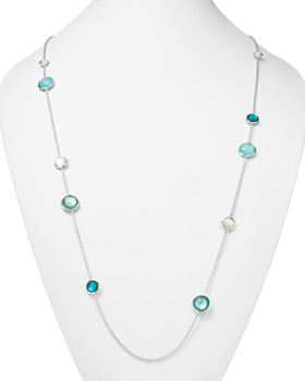 IPPOLITA - Sterling Silver Wonderland Mixed Mother-of-Pearl & Clear Quartz Doublet Station Necklace in Bermuda, 40""