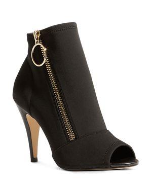 Women'S Neoprene Peep Toe High Heel Booties, Black