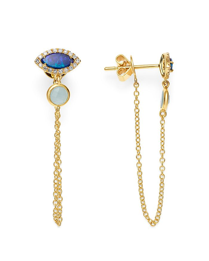 Meira T - 14K Yellow Gold Milky Aquamarine, Opal & Diamond Draped Chain Stud Earrings