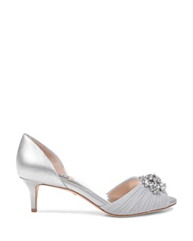Badgley Mischka - Women's Sabine Embellished Leather & Mesh Peep Toe d'Orsay Pumps