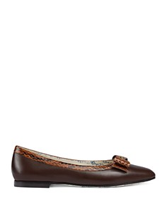 Gucci - Women's Yva Leather & Snakeskin Bow Ballet Flats