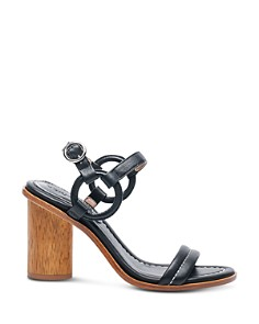 Bernardo - Women's Leather Circle Strap Block Heel Sandals
