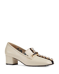 Gucci - Women's Ginger Embellished Leather Loafer Pumps