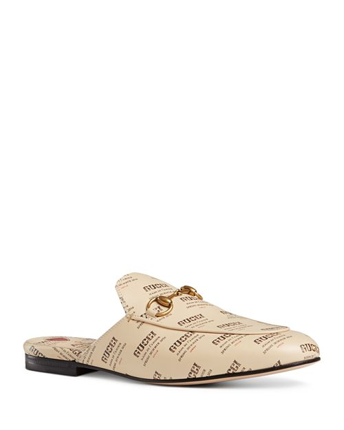 Gucci - Women's Princetown Invite Print Leather Mules
