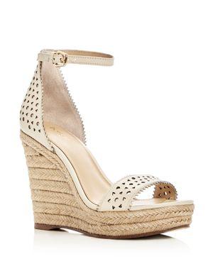 Women'S Jamie Leather Espadrille Wedge Sandals, Cream Leather