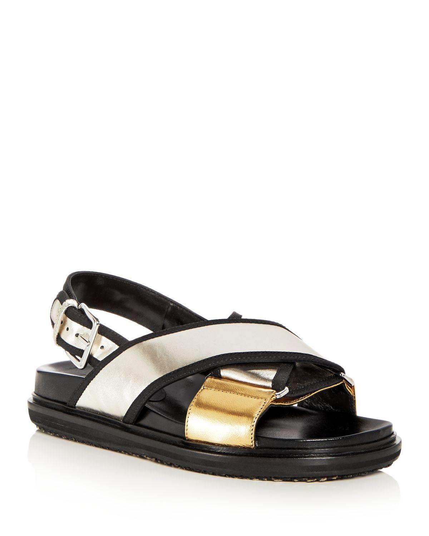 Marni Women's Fusbett Leather Crisscross Slingback Sandals
