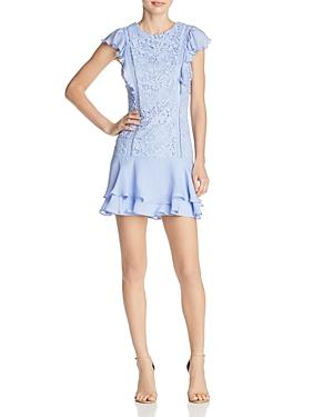 Parker Bennett Ruffle-Trimmed Lace Dress