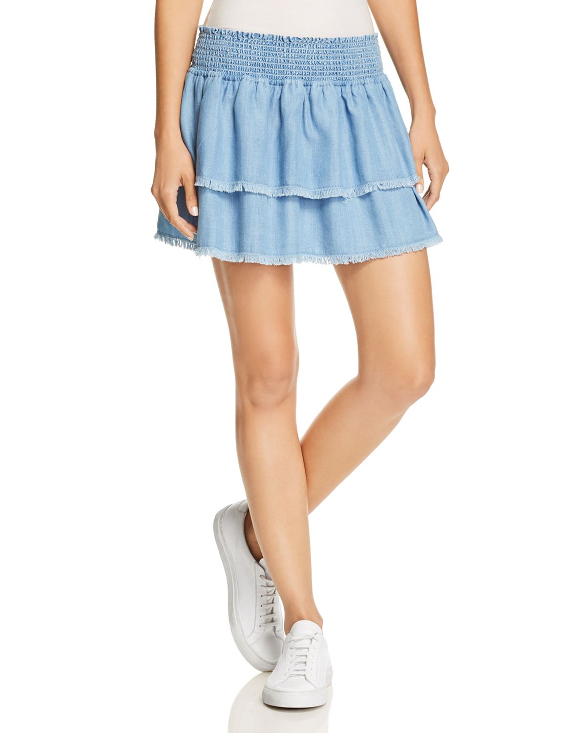 Smocked & Fringed Tiered Skirt by Bella Dahl