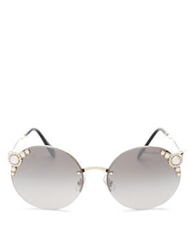 Miu Miu - Women's Embellished Round Rimless Sunglasses, 60mm