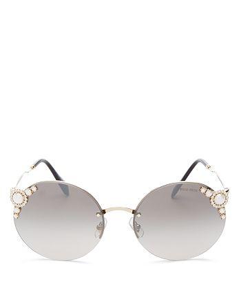 d424aaab3bb7 Miu Miu - Women s Embellished Round Rimless Sunglasses