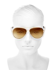 Longchamp - Women's Roseau Family Brow Bar Aviator Sunglasses, 55mm