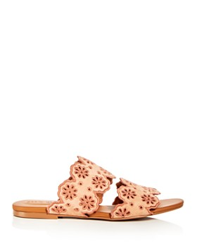 See by Chloé - Women's Floral Eyelet Suede Slide Sandals