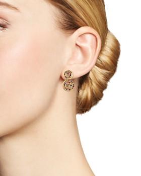 SheBee - 14K Yellow Gold Multicolor Sapphire Spiral Drop Earrings