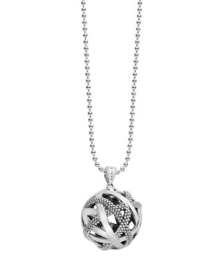 Lagos Sterling Silver Love Knot Station Necklace, 34