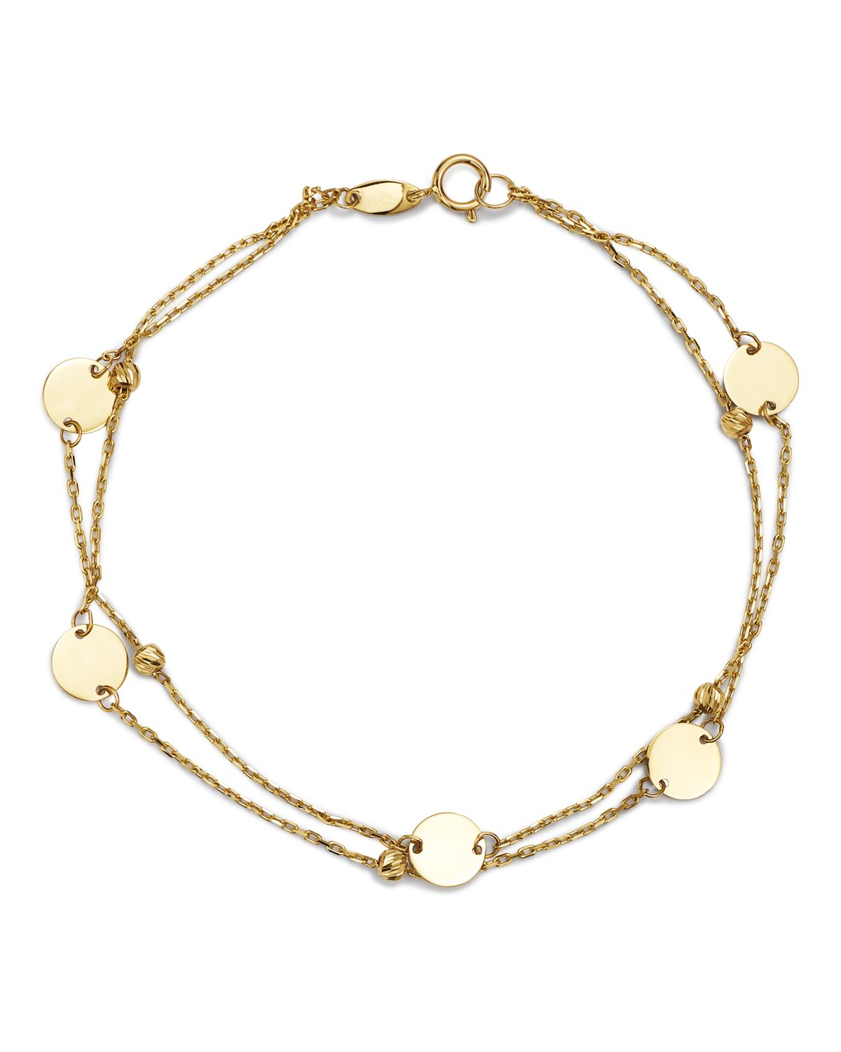Layered Disc & Bead Bracelet In 14 K Yellow Gold   100 Percents Exclusive  by Moon & Meadow