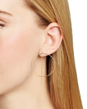 Moon & Meadow - Circle Threader Earrings in 14K Yellow Gold - 100% Exclusive
