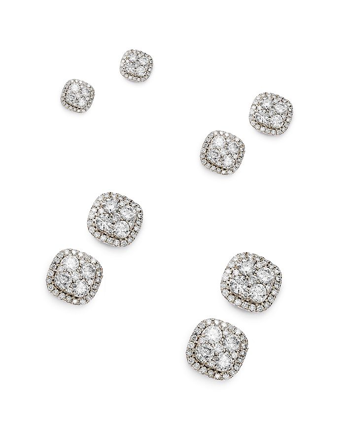 Bloomingdale's - Diamond Cluster Stud Earrings in 14K White Gold, 0.50 ct. t.w. - 2.0 ct. t.w. - 100% Exclusive