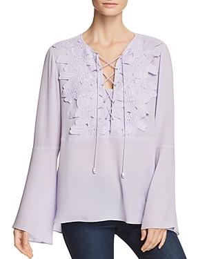 Michael Michael Kors Floral Bib Lace-Up Top
