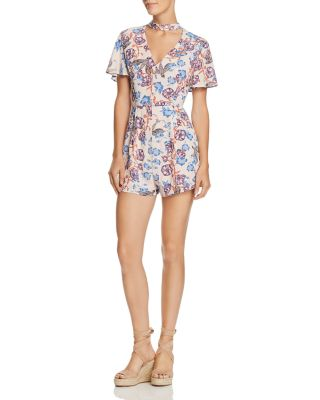 Choker Collar Floral Print Romper   100 Percents Exclusive by En Créme