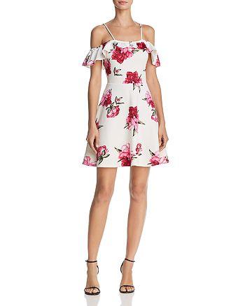 AQUA - Floral Print Cold-Shoulder Dress - 100% Exclusive