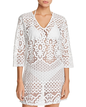 J. Valdi Embroidered Floral Tunic Swim Cover-Up
