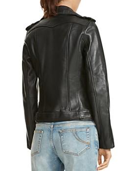 Maje - Bocelix Belted Leather Motorcycle Jacket