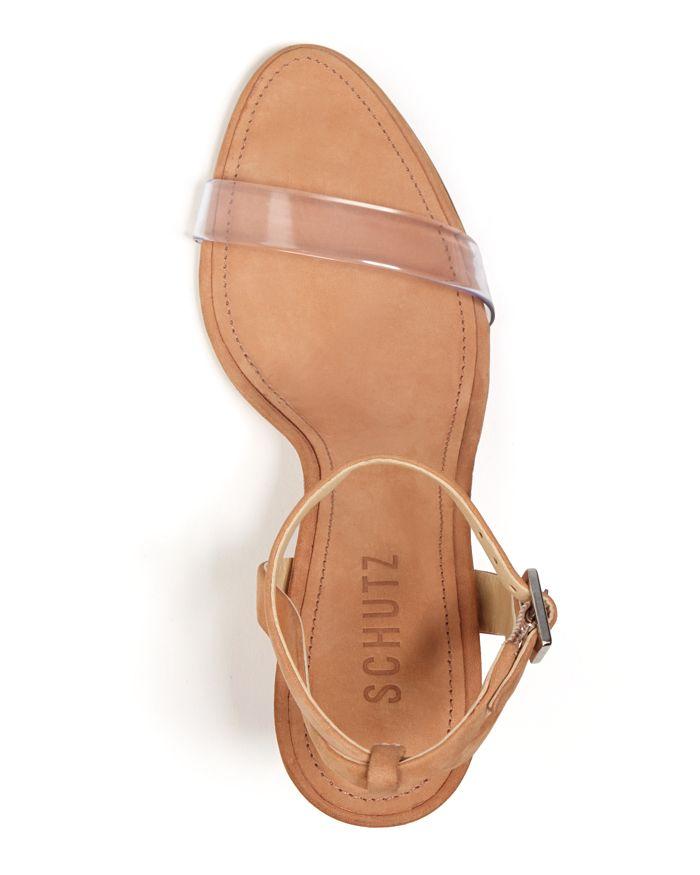 b31bdbcbdc29 SCHUTZ Women s Geisy Suede Illusion Ankle Strap Block Heel Sandals ...