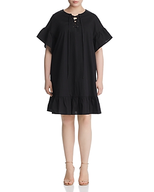 New Lucky Brand Plus Lace-Up Ruffle Dress, Lucky Black