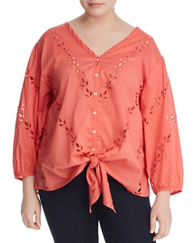 Lucky Brand Plus - Tie-Front Eyelet Top