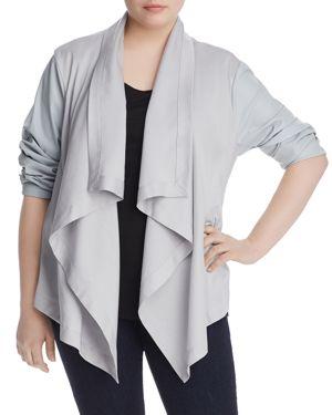 Bagatelle Plus Mixed-Media Draped Jacket