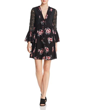 En Créme - Lace-Inset Floral-Print Dress - 100% Exclusive