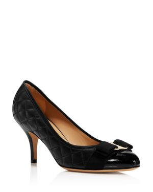 WOMEN'S QUILTED LEATHER CAP TOE PUMPS
