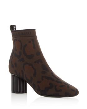Salvatore Ferragamo - Women's Capo 55 Leopard Print Knit Flower Heel Booties