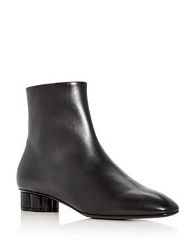 Salvatore Ferragamo - Women's Molfetta 30 Leather Flower Heel Booties