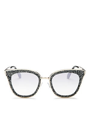 61b5b70220 JIMMY CHOO LIZZY GREY AND SILVER CAT-EYE SUNGLASSES WITH CRYSTAL DETAILING