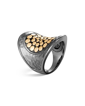 JOHN HARDY - Blackened Sterling Silver & 18K Bonded Gold Dot Saddle Ring