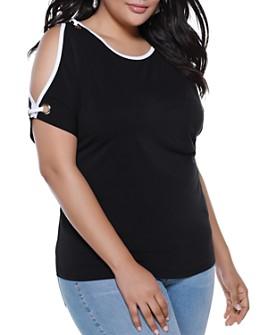 Belldini Plus - Cold-Shoulder Grommet Top