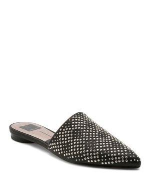 DOLCE VITA Women'S Elvah Studded Leather Pointed Toe Mules in Black