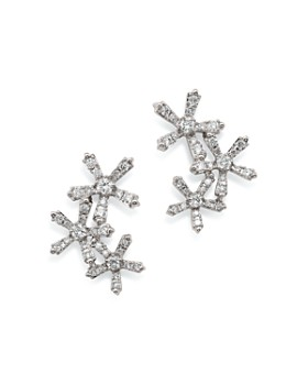 Bloomingdale's - Diamond Flower Ear Climbers in 14K White Gold, 0.55 ct. t.w.- 100% Exclusive