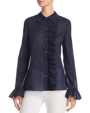 Tory Burch Anna Ruffle-Trim Shirt (190041833283)