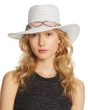 ALE BY ALESSANDRA Ale By Alessandra Bailey Toyo Straw Hat in White/Pink