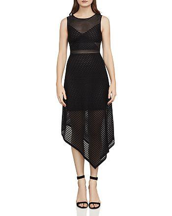 BCBGMAXAZRIA - Leona Asymmetric Striped Mesh Dress