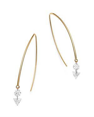 AERODIAMONDS 18K YELLOW GOLD ROUND & TRIANGLE DIAMOND DUET THREADER EARRINGS